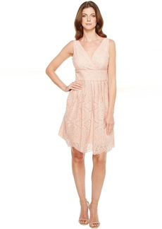 Adrianna Papell Ella Mosaic Lace V-Neck Fit and Flare Sleeveless Dress