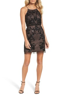 Adrianna Papell Embellished Blouson Minidress