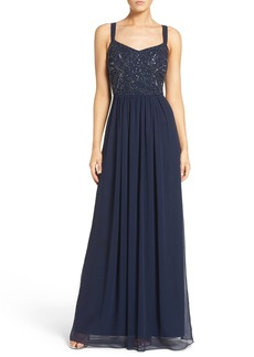 Adrianna Papell Embellished Bodice Chiffon Gown