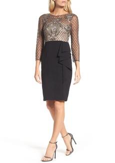 Adrianna Papell Embellished Bodice Drape Front Dress
