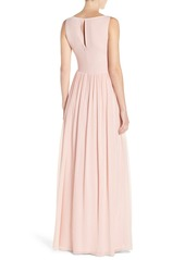 Adrianna Papell Embellished Bodice Sleeveless Chiffon Gown