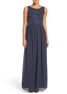 Adrianna Papell Embellished Bodice Sleeveless Chiffon Gown