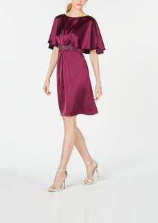 Adrianna Papell Embellished Cape A-Line Dress