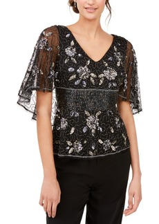 Adrianna Papell Embellished Capelet Top