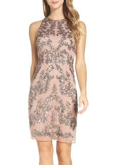 Adrianna Papell Embellished Chiffon Sheath Dress