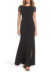 Adrianna Papell Embellished Crepe Gown