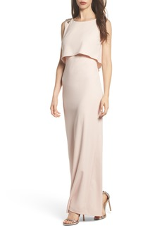 Adrianna Papell Embellished Crepe Popover Gown