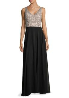 Adrianna Papell Embellished Floor-Length Dress
