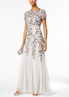 Adrianna Papell Floral-Beaded Mermaid Gown