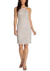 Adrianna Papell Embellished Fringed Halter Dress