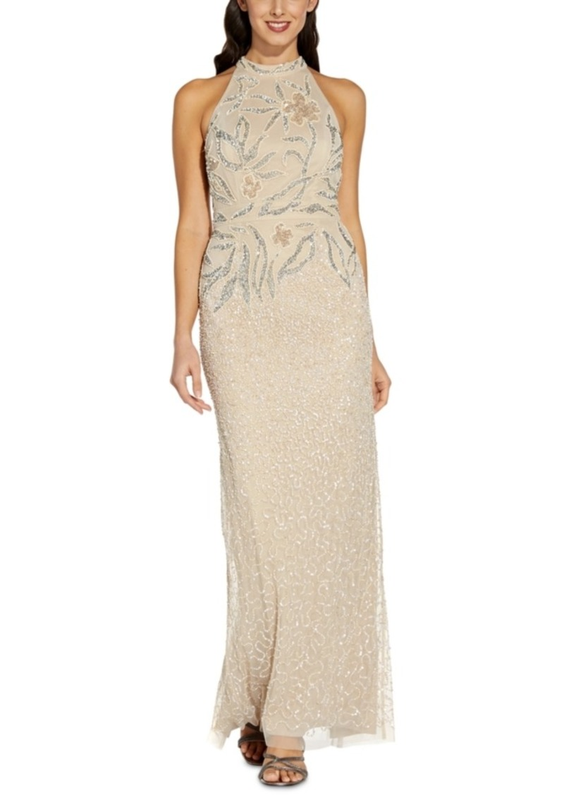Adrianna Papell Embellished Halter Gown