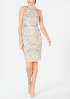 Adrianna Papell Embellished Halter Sheath Dress