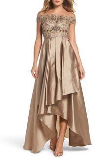 Adrianna Papell Embellished High/Low Off the Shoulder Dress