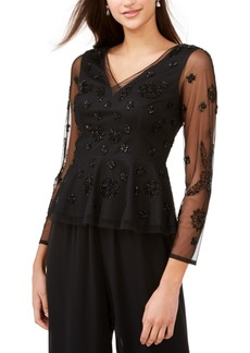 Adrianna Papell Embellished Illusion Top