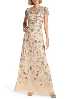 Adrianna Papell Embellished Illusion Yoke Gown