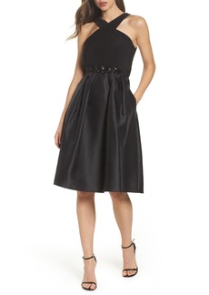 Adrianna Papell Embellished Jersey & Mikado Party Dress