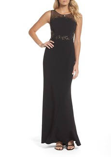 Adrianna Papell Embellished Knit Crepe Gown