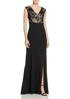 Adrianna Papell Embellished Lace-Bodice Gown