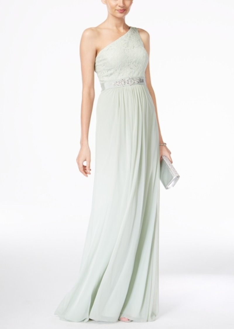 Adrianna Papell Adrianna Papell Embellished Lace One-Shoulder Gown
