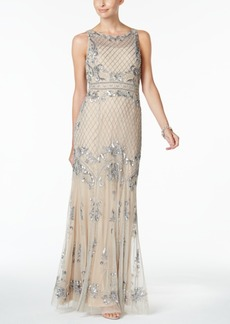 Adrianna Papell Embellished Lattice Mesh Gown