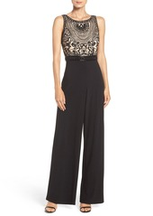 Adrianna Papell Embellished Mesh & Jersey Jumpsuit