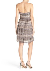 Adrianna Papell Embellished Mesh Fit & Flare Dress