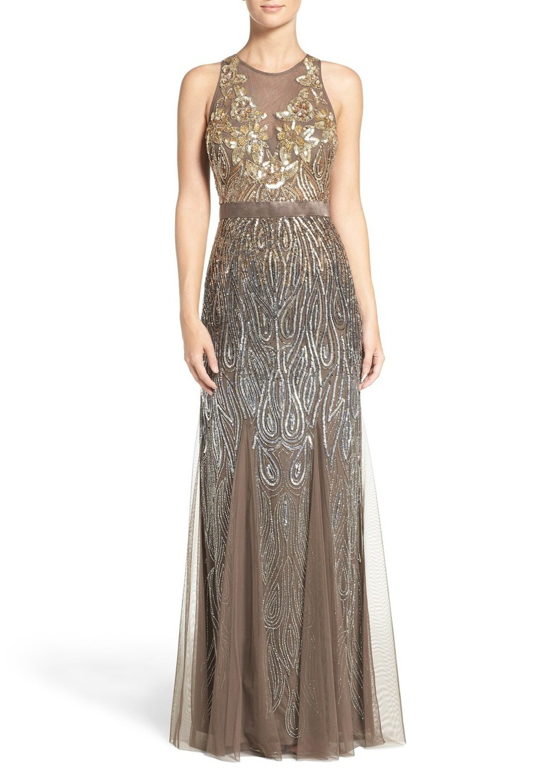 Adrianna Papell Adrianna Papell Embellished Mesh Mermaid Gown | Dresses