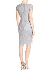 Adrianna Papell Embellished Mesh Sheath Dress