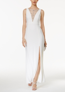 Adrianna Papell Embellished Mesh Slit Gown