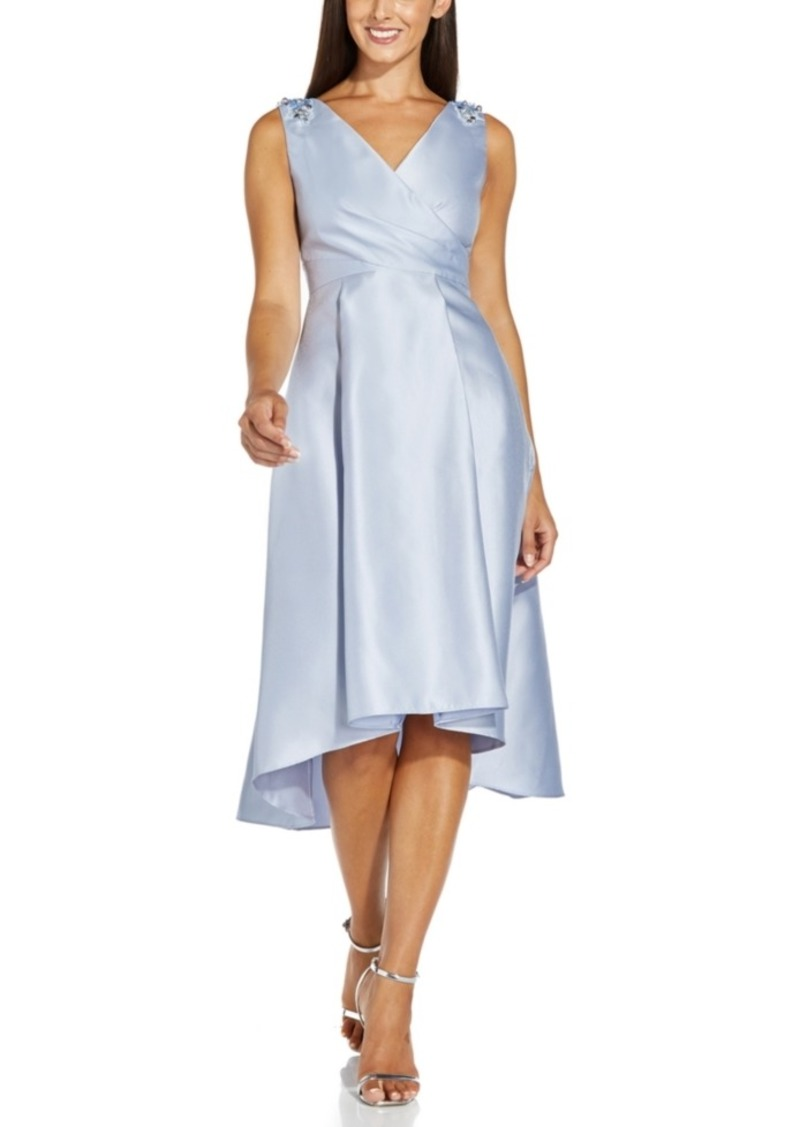 Adrianna Papell Embellished Mikado High-Low Dress