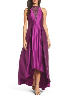 Adrianna Papell Embellished Mikado High/Low Gown