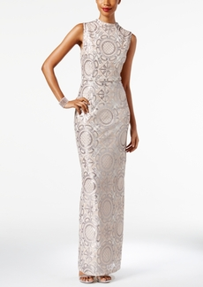 Adrianna Papell Embellished Mock-Neck Column Gown