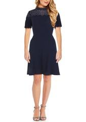 Adrianna Papell Embellished Mock-Neck Fit & Flare Dress