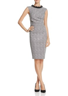 Adrianna Papell Embellished-Neck Dot Jacquard Dress
