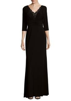 Embellished Neckline Floor-Length Gown