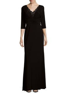 Adrianna Papell Embellished Neckline Floor-Length Gown