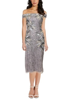 Adrianna Papell Embellished Off-the-Shoulder Midi Dress,