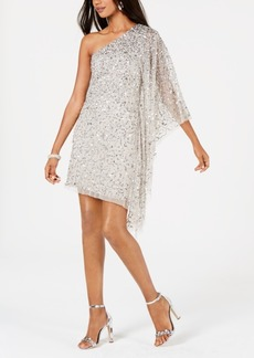 Adrianna Papell Embellished One-Shoulder Dress