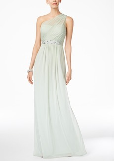 Adrianna Papell Embellished One-Shoulder Gown