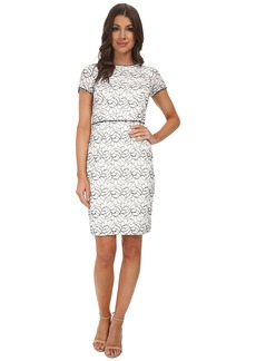 Adrianna Papell Embellished Ornate Lace Sheath