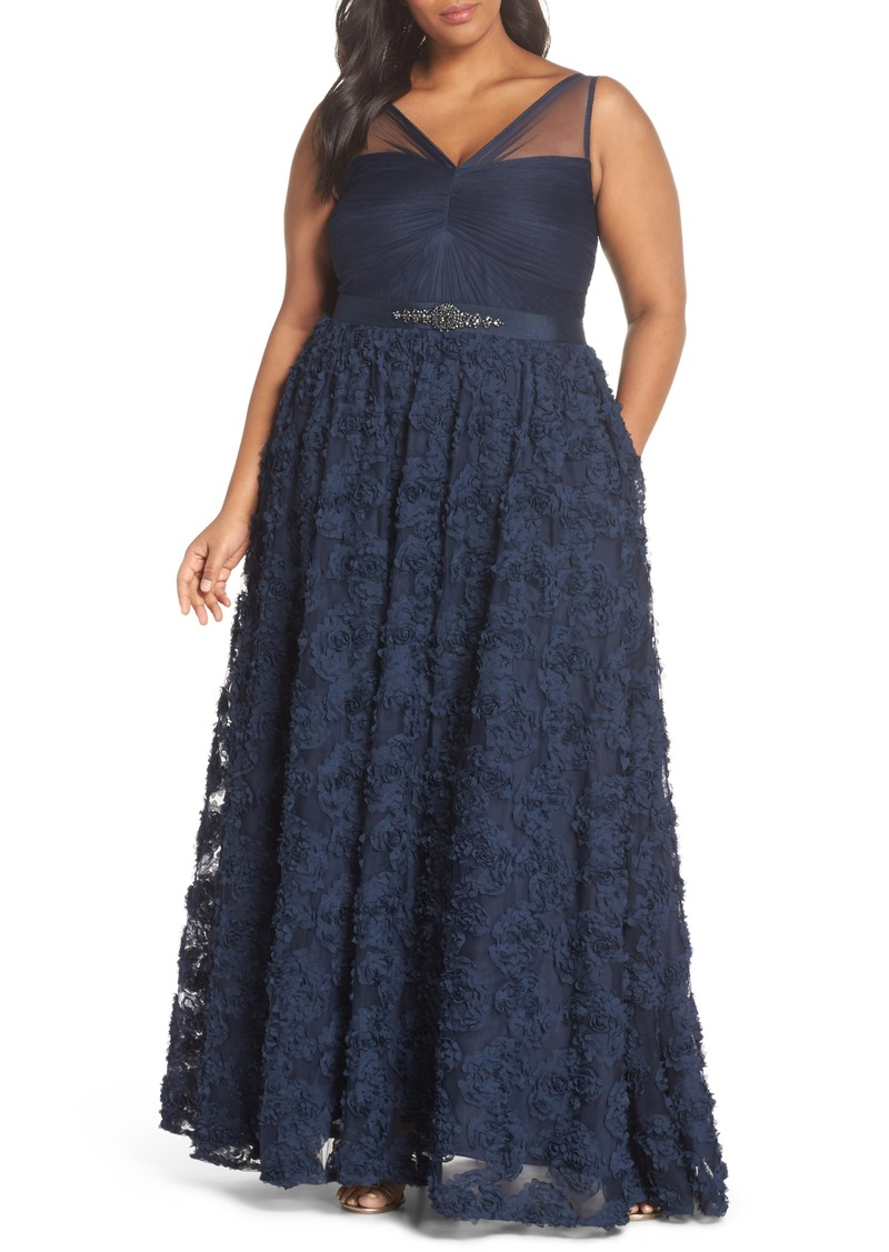 Adrianna Papell Adrianna Papell Embellished Petal Chiffon Ballgown ...