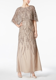 Adrianna Papell Embellished Popover Capelet Gown