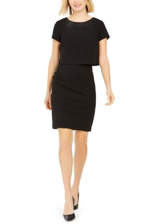 Adrianna Papell Embellished Popover Sheath Dress