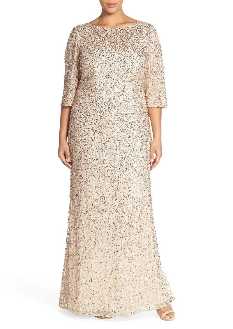 Adrianna Papell Adrianna Papell Embellished Scoop Back Gown (Plus ...
