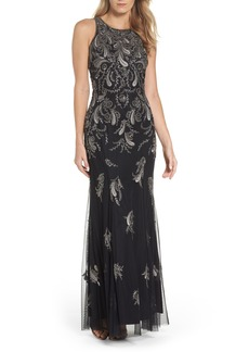 Adrianna Papell Embellished Sheer Back Maxi Dress