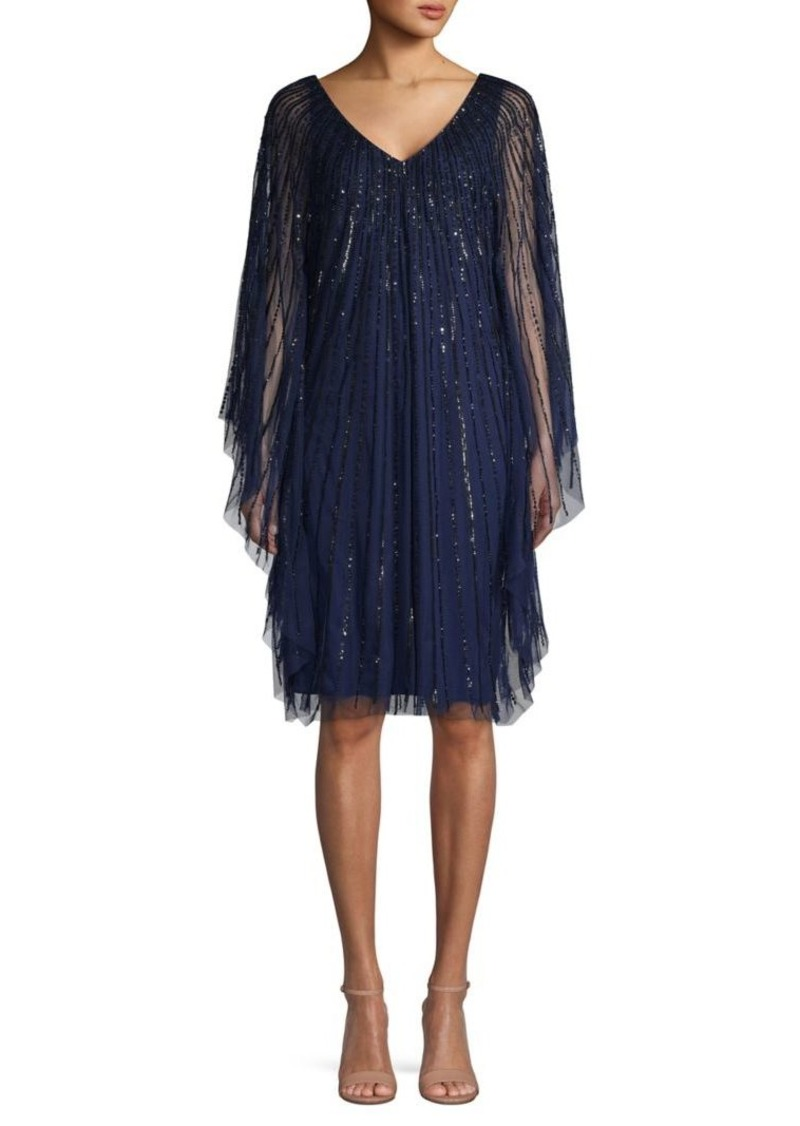 Adrianna Papell Embellished Sheer Party Dress
