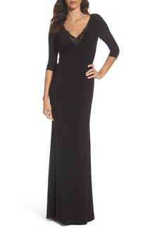 Adrianna Papell Embellished Shirred Gown