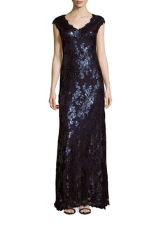 Adrianna Papell Embellished Short Sleeve Gown