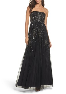 Adrianna Papell Embellished Strapless Mesh Gown