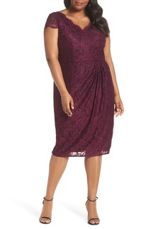 Adrianna Papell Embellished Stretch Lace Sheath Dress (Plus Size)